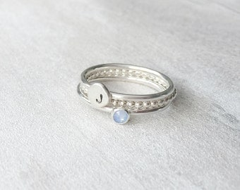 Birthstone and Pebble Stacking Ring Set