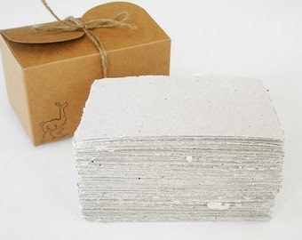 Recycled Paper with Llama Poo - Box of handmade Paper - 100 Sheets, Hand Torn and Deckle Edges - Invitation - Flyer - DIY - Box of Paper