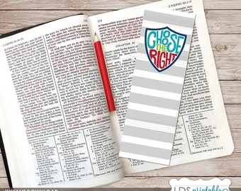 PRBM17001 - Choose The Right printable Bookmark 2017 LDS Primary Theme