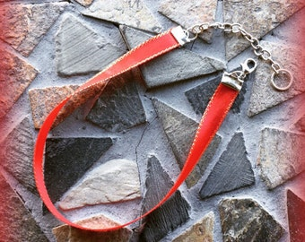 Red and Metallic Trimmed Adjustable Childrens Choker