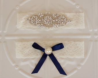 Bridal Garter, Elastic lace wedding garter set, Satin and Lace with Pearls, Navy Blue