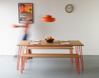 Dining Table, In Oak, Hairpin Legs, Industrial Furniture, Handmade, Eames, Mid-century.