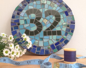 Round Mosaic House Number
