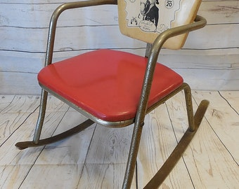Vintage Hopalong Cassidy Rocking Chair 1950's Red Vinyl Seat - Decor