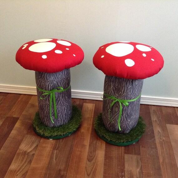 Pair ADULT Mushroom Toadstool Chair Height Stool Seat, Desk Chair, Kids Room Decor, Stool, Alice In Wonderland