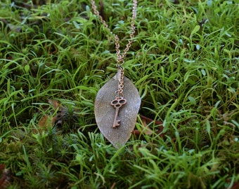 Brass Leaf and Skeleton Key Necklace on a Long Brass Chain