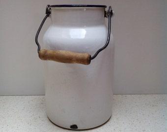 Kitchenalia - vintage White enamel milk can enamelware - milk pail pot