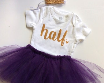 Baby girl half birthday outfit- purple - half birthday- birthday collection