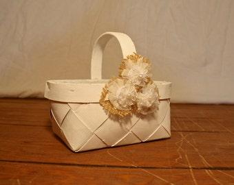 Flower Girl Basket, Rustic Flower Girl Basket, Wedding Decor, Wedding Accessory, Rustic Wedding, White Flower Girl Basket, Burlap Flowers