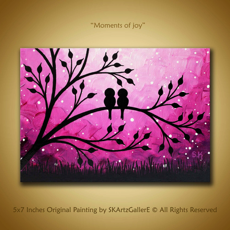 Love Birds Painting Mini Canvas Art Purple Sunset Painting