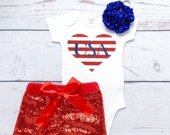 Striped USA heart, Baby Girl' clothing, Baby Girl 4th of July Outfit,July 4th outfit,Usa 4th Of July onesie,Baby Girl ONESIE ONLY