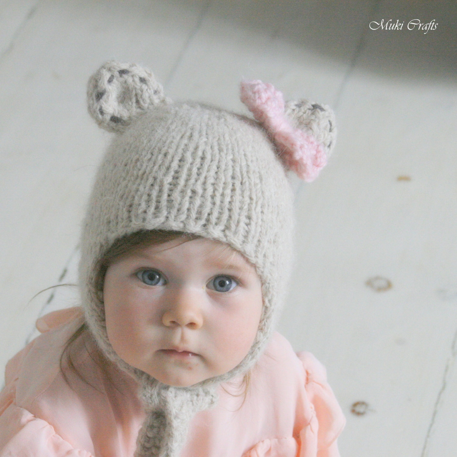 Knitting pattern bear hat with earflaps and a bow nalle baby this is a digital file bankloansurffo Gallery
