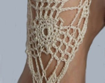 Barefoot Sandals Foot Jewelry Hippie  Bridal Crochet