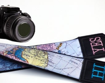 Personalized Camera Strap with World Map - Embroidered Camera Strap - DSLR Camera Strap -Sony Camera Strap -Panasonic and Nikon Camera Strap