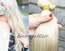 18 Inch Straight White Blonde Color Hair Extensions, Indian Remy Clips in Hair Extensions RHS062