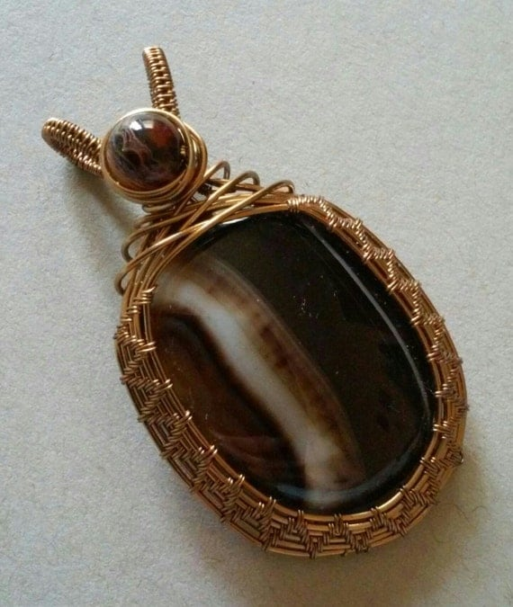 Agate Pendant Rich Earth Tone Agate Wire Wrapped Pendant