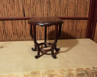 Vintage Japanese Tall Round Display Stand Rosewood