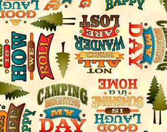 Outdoor Adventures Camping words on Beige cotton fabric by Quilting Treasures