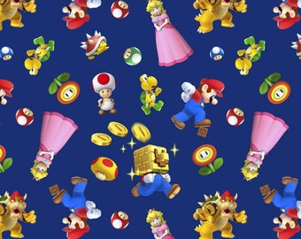 Mario Character toss on Blue cotton woven fabric by Springs Creative