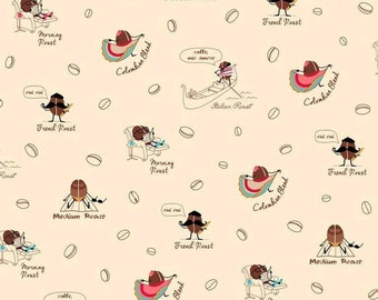 Caf-Fiend, Coffee Beans on beige cotton fabric
