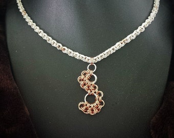 """Unique,Handcrafted,Artsian Jewelry, 20"""",Chainmail,Chainmaille Necklace,Silver Plated,Jewelry,Handmade accessories,Statement Necklace"""