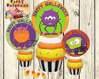 Printable Halloween Monster cupcake toppers/tags