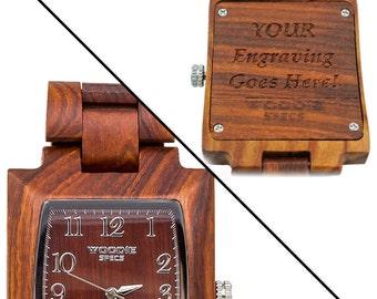 Handcrafted mens rectangle wood watch made from 100% natural red sandalwood. FREE custom engraving!