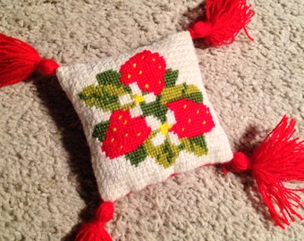 Small Square Needlepoint and Tassel Pillow