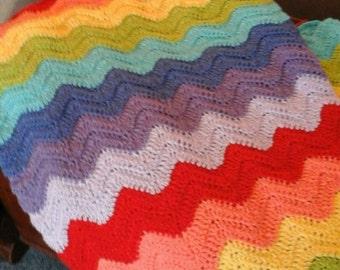 Crochet Blanket - Ripple Afghan - Rainbow Blanket - Crochet Afghan - Baby Afghan - Bedding - Home Accents