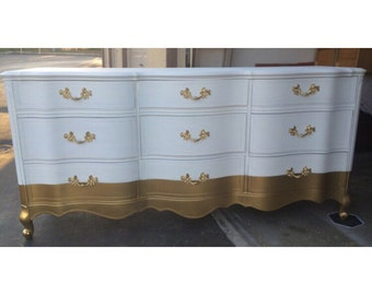 1957 French Provincial 9 Drawer Dresser/Credenza/Nursery/Buffet GOLD and WHITE, dipped