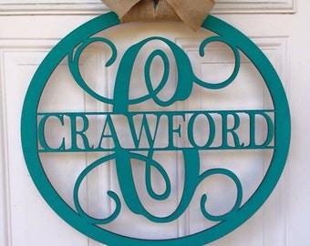 Monogram door hanger, monogram wall decor, name door hanger, custom monogram door hanger, personalized door hanger, personalized gift