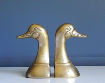 Vintage Brass Duck head Bookends/Solid Brass/Silver MFG. Co./ Leonard Solid Brass Collection/Korea/Ducks Unlimited/Duck Decor/Bookshelf