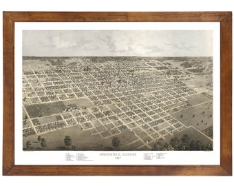 Springfield, IL 1867 Bird's Eye View; 24x36 Print from a Vintage Lithograph