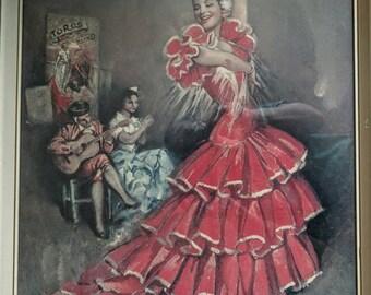 Beautifully Kitch, Vintage Print. Wila Piconera. Flamenco Dancer 1950s-1960s Stunning.