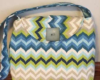 Chevron Handbag for Woman, Blue Messenger Bag, Shoulder Bag for Women, Fall Handbag, Fall Purse, Small Tote Bag