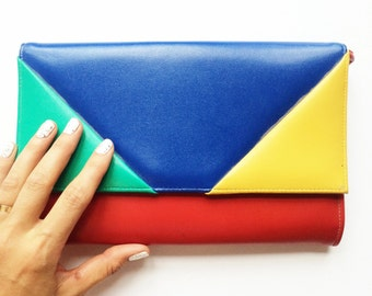 Made in Canada pleather colour block clutch.