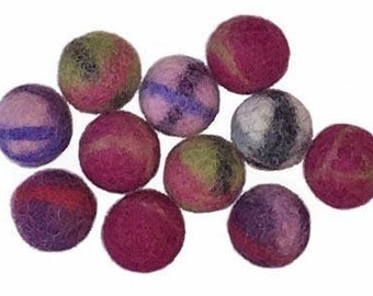 Large 2cm Two-tone Wool Felt Beads - pack of 10