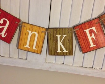 Fall Thankful Banner Sign Bunting Garland Autumn Colors Rustic Primitive Barn Siding Cards Shabby Distressed