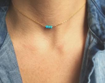 Tiny Turquoise Choker Necklace- Tiny Beaded Necklace- Thin Choker Necklace- Gemstone Choker Necklace- Turquoise Necklace- Boho Jewelry