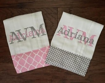 Burp Cloth. Baby Burp Cloths. Diaper Burpcloth/Cloth diaper Burp / grey and white polka - set of two - Baby Shower- Baby Gift - Newborn