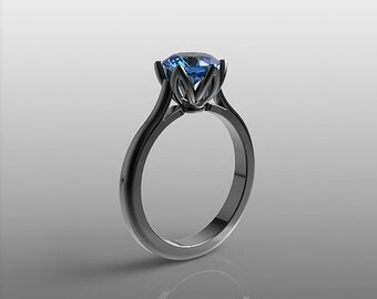 14k black gold engagement ring, 7mm round Blue Topaz ring, wedding ring, promise ring, anniversary ring, special orders, R-104