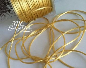 Lt. gold rattail cord,rat tail cord,cola de rata,satin cord,jewelry cord,embellishment,kumihimo braiding,beading cord,macrame cord.