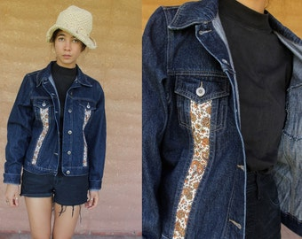 groovy 70's Vintage denim jacket with paisley print contrast panels festival