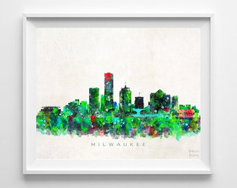 Milwaukee Skyline, Art Print, Milwaukee Poster, Wisconsin Print, Watercolor Art, Cityscape, Wall Art, Home Decor, Back To School