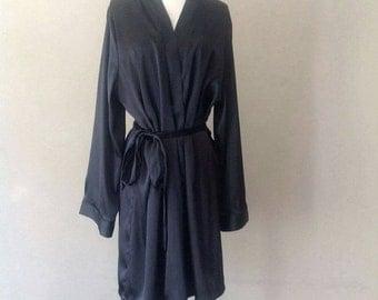 On Sale / 40% Off L/XL / Black Satin Robe / Kimono Wrap / Large/Extra Large