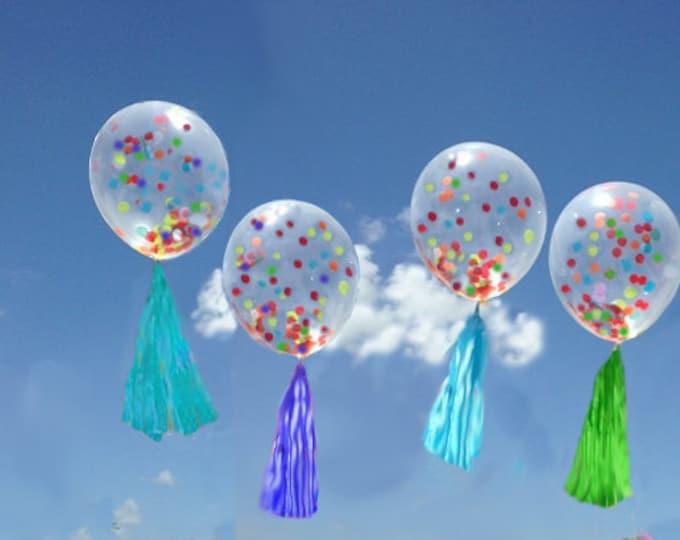 "Confetti Balloon Small Balloon with Tassel and Confetti Custom Colors , 11"" Confetti Balloon with Tassels"
