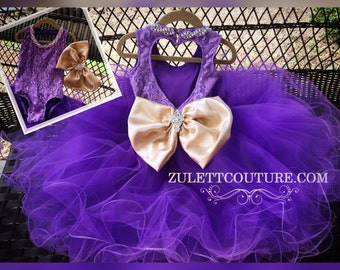 Birthday Dress - Purple Baby Dress - Purple Gold Girl Dress - Purple  3pc Dress - Baptism Dress - Zolena Dress by Zulett Couture