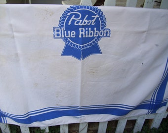 Vintage Pabst Blue Ribbon Beer Display Tablecloth with Royal Blue Stripes, Many Stains, Square,Manly Chic Condition