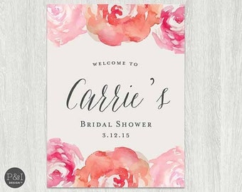 Rustic Watercolor Floral Bridal/Baby Shower/ Welcome Poster/Sign