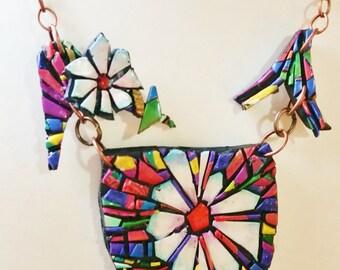 Polymer clay, mosaic, necklace, unique, handmade, original design